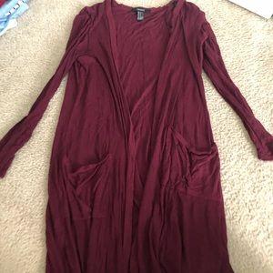 Long lightweight maroon cardigan